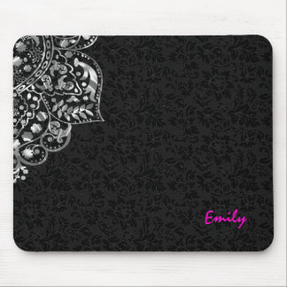 Elegant Black Damasks Silver Metallic Vintage Lace Mouse Pad