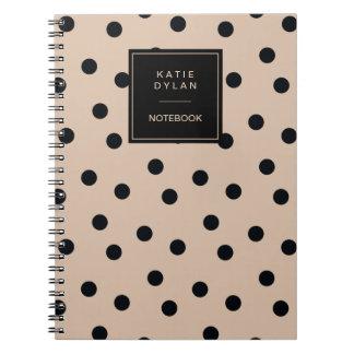 Elegant Black Dots on Beige Spiral Notebook