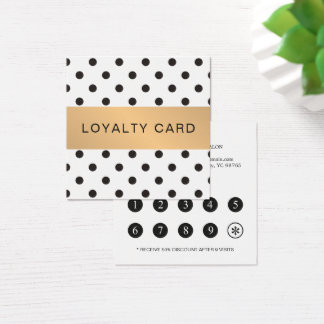 Elegant Black Dotted Faux Gold Stripe Loyalty Card