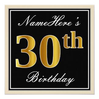 Elegant, Black, Faux Gold 30th Birthday + Name Card