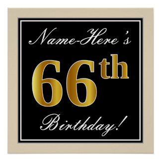 Elegant, Black, Faux Gold 66th Birthday + Name Poster