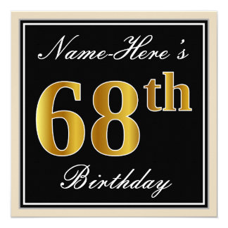 Elegant, Black, Faux Gold 68th Birthday + Name Card