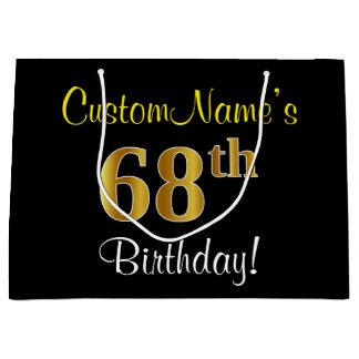 Elegant, Black, Faux Gold 68th Birthday + Name Large Gift Bag