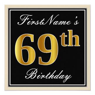 Elegant, Black, Faux Gold 69th Birthday + Name Card