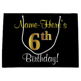 Elegant, Black, Faux Gold 6th Birthday + Name Large Gift Bag