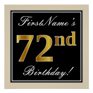 Elegant, Black, Faux Gold 72nd Birthday + Name Poster