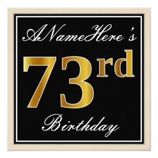 Elegant, Black, Faux Gold 73rd Birthday + Name Card