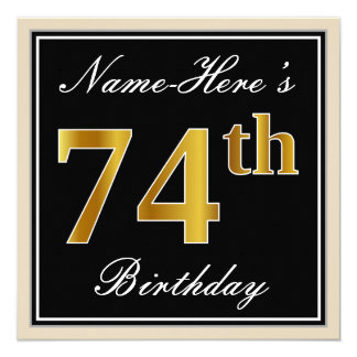 Elegant, Black, Faux Gold 74th Birthday + Name Card