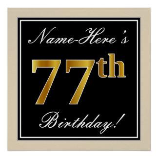 Elegant, Black, Faux Gold 77th Birthday + Name Poster