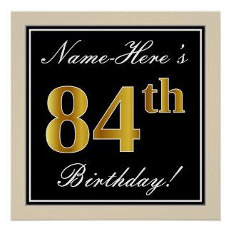 Elegant, Black, Faux Gold 84th Birthday + Name Poster