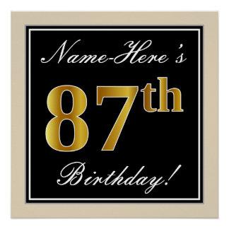 Elegant, Black, Faux Gold 87th Birthday + Name Poster