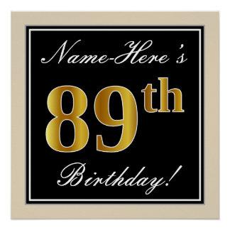 Elegant, Black, Faux Gold 89th Birthday + Name Poster