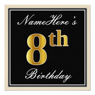 Elegant, Black, Faux Gold 8th Birthday + Name Card