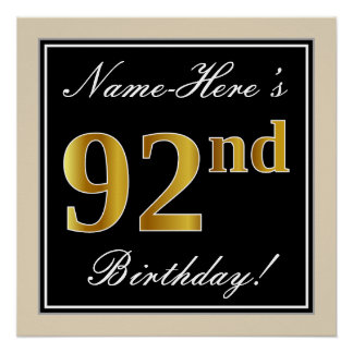 Elegant, Black, Faux Gold 92nd Birthday + Name Poster