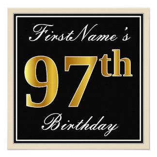 Elegant, Black, Faux Gold 97th Birthday + Name Card