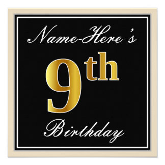 Elegant, Black, Faux Gold 9th Birthday + Name Card