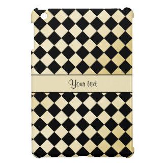 Elegant Black & Faux Gold Checkers iPad Mini Cases