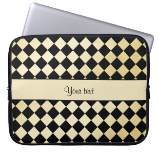 Elegant Black & Faux Gold Checkers Laptop Sleeve