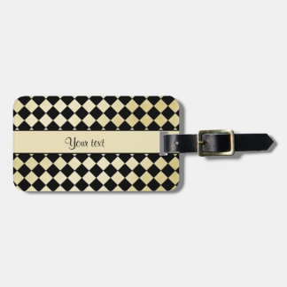 Elegant Black & Faux Gold Checkers Luggage Tag