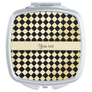 Elegant Black & Faux Gold Checkers Mirror For Makeup