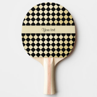 Elegant Black & Faux Gold Checkers Ping Pong Paddle