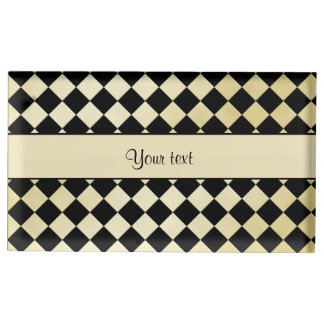 Elegant Black & Faux Gold Checkers Table Card Holder