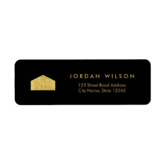 Elegant Black Faux Gold House Return Address