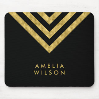 Elegant Black Faux Gold Name Chevron Geometric Mouse Pad