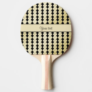 Elegant  Black & Faux Gold Symmetrical Diamonds Ping Pong Paddle