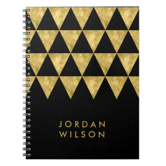 Elegant Black Faux Gold Triangle Pattern Spiral Notebook
