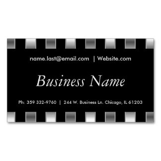 Elegant Black & Faux Metallic Silver Stripes Magnetic Business Card
