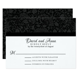 Elegant Black Floral Brocade Wedding RSVP Card