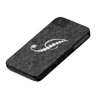Elegant Black  Floral Damas Diamonds Initial J iPhone 4 Case