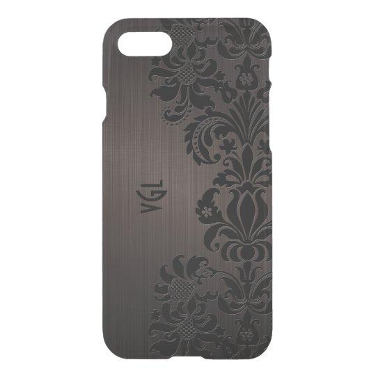 Elegant Black Floral Lace Brown Background iPhone 7 Case