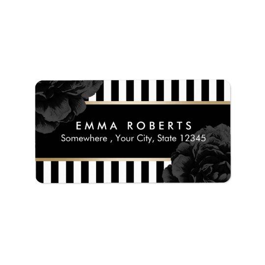 Elegant Black Floral Modern Black & White Stripes Label
