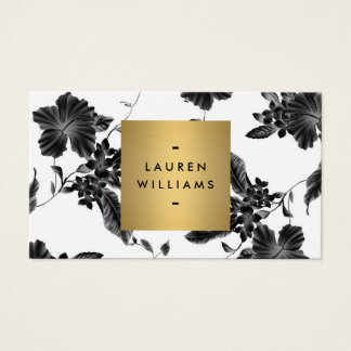 Elegant Black Floral Pattern 4 with Gold Name Logo Business Card