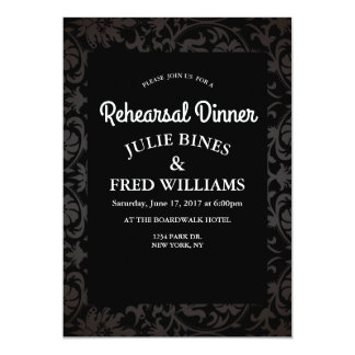 Elegant Black Floral Rehearsal Dinner invitation