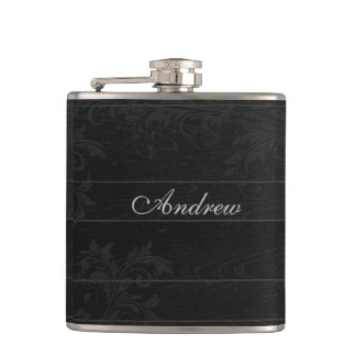 Elegant Black Flourish Monogram Hip Flask