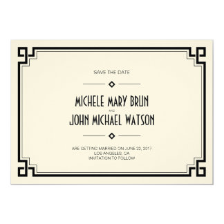Elegant Black Frame Art Deco Save the Date Card