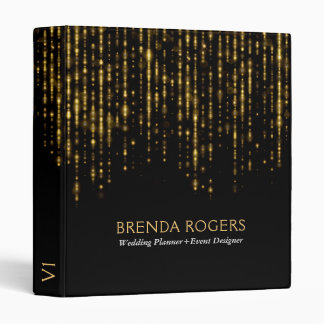 Elegant Black & Glam Gold Design 3 Ring Binders