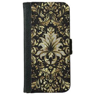 Elegant Black & Glitter & Gold Floral Lace iPhone 6 Wallet Case