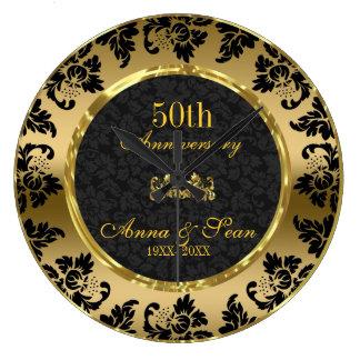 Elegant Black & Gold 50th Wedding Anniversary Clocks