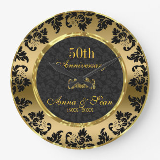 Elegant Black & Gold 50th Wedding Anniversary Large Clock