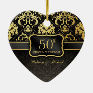 Elegant Black & Gold 50th Wedding Anniversary Double-Sided Heart Ceramic Christmas Ornament
