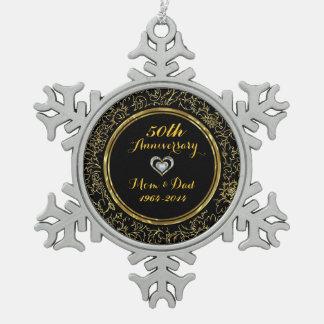 Elegant Black & Gold 50th Wedding Anniversary Pewter Snowflake Ornament