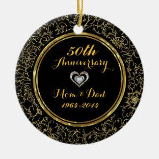 Elegant Black & Gold 50th Wedding Anniversary Round Ceramic Ornament