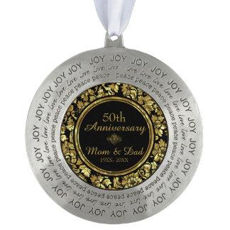 Elegant Black & Gold 50th Wedding Anniversary Round Pewter Ornament