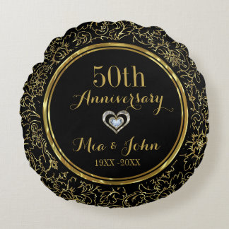 Elegant Black & Gold 50th Wedding Anniversary Round Pillow