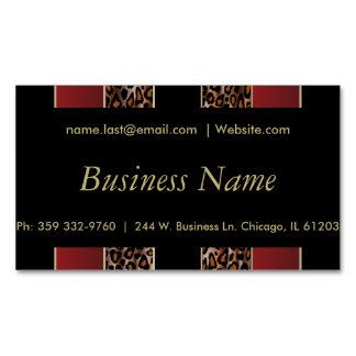 Elegant Black, Gold and Burgundy Leopard Stripes Magnetic Business Card