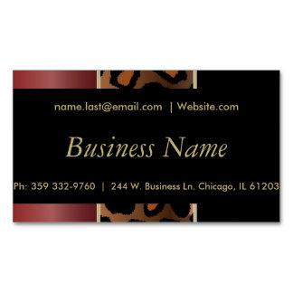 Elegant Black, Gold and Garnet Red Leopard Stripes Magnetic Business Card